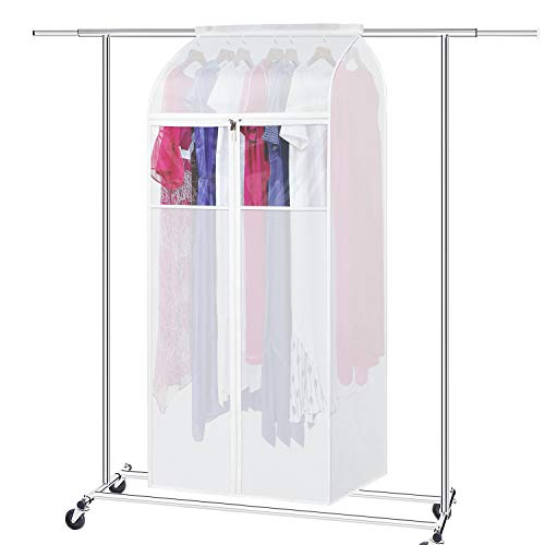 Zilink Large Garment Storage Bags 60 inches Dust-Proof Hanging Garment Rack Cover Dress Bags Organizer Clothes Cover Protector for Suit Coats Long Dresses Closet Storage
