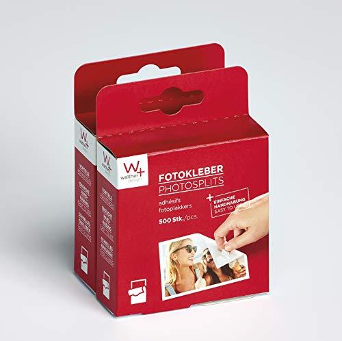 Walther FT500DP - Adhesivos para fotos de doble cara, libres de ácido (pack doble; 2 x 500 unidades) color blanco