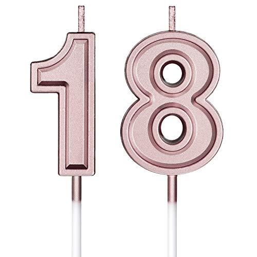 18. Geburtstag Kerzen Kuchen Nummer Kerzen Alles Gute zum Geburtstag Kuchen Topper Dekorationen für Geburtstag Hochzeit Jahrestag Feier Zubehör, Rose Gold