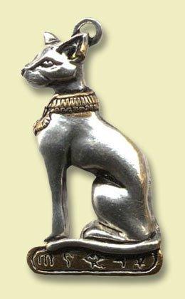 LAzell Historic Amulett, Medaillon Bastet, ägyptische Göttin der Liebe und der Freude