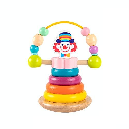YYIXING Rotierendes Clownspielzeug Geometrischer Block des Hölzernen Regenbogenturmstapelringspielzeugs Frühes Bildungspuzzle Kinderspielzeuggeschenk