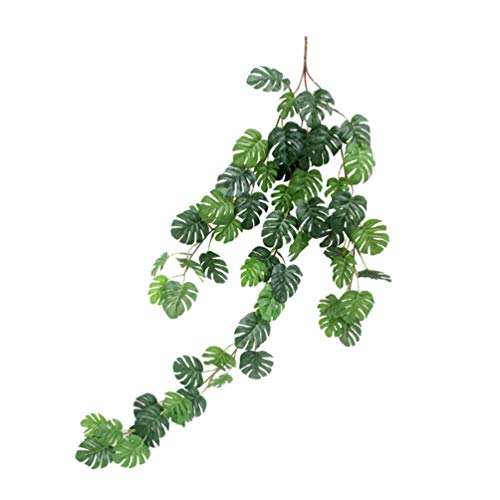 PRETYZOOM Künstliche Pflanzen Grün Tropische Palmblätter Gefälschte Reben Girlande Haustür Hängen Pflanzen Büro Wohnzimmer Hawaii Luau Dschungel Party Tischdekoration