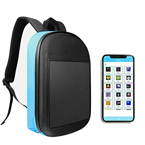JJIIEE Waterproof LED Backpack,Programmable Intelligent LED Display WiFi Advertising Backpack,Large capacity backpack Support Text/Picture/Gif Animation for unisex,Blue