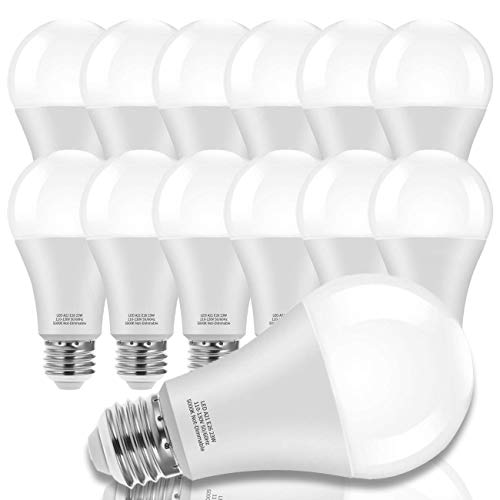 150-200W Equivalent 23W LED Bulb, A21 LED Super Bright Light Bulb, 2500 Lumens, Daylight White 5000K for Your Home, Office, Store, Garage, Warehouse, Garden (12-Pack)
