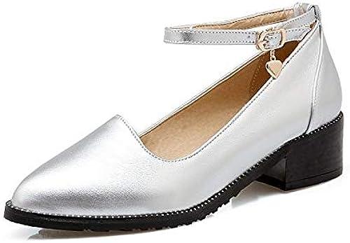 ZHZNVX Chaussures Femme PU (Polyuréthane) Escarpins Basiques Chunky Heel Coffee argent rouge