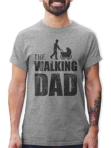 Shirtracer The Walking Dad Herren T-Shirt und Männer Tshirt (S, Grau Meliert)