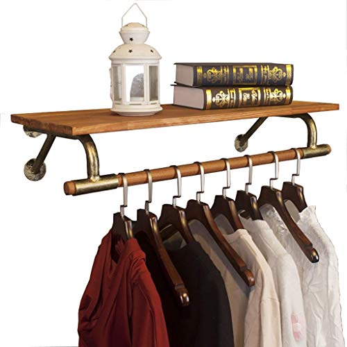 Ropa de segunda mano Escudo estante de exhibición de ropa del estante montado en la pared de la ropa Estante de la capa del estante con la madera del estante de los hogares comercial, base de hierro