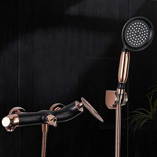 SISHUINIANHUA ORB + Rose Brass Gold Doppelfunktions-Duschset Wandmontage Badezimmer Kalt- und Warmwassermischer Wasserhahn Dusche Blatt Design Griff