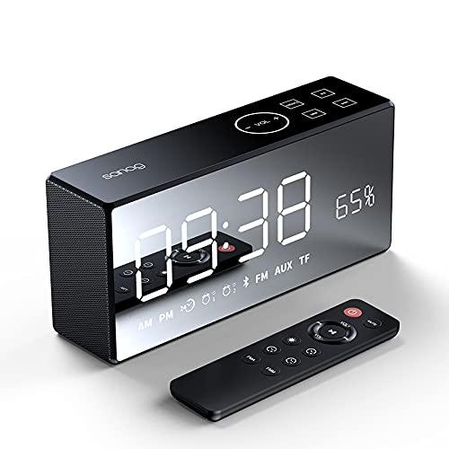 BOXIANGY Altavoz Bluetooth inalámbrico Espejo de casa pequeño estéreo Radio Control Remoto Reloj Despertador Altavoz Inteligente Negro Puro