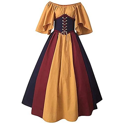 Daiwen Vestido de Disfraz Medieval Renacentista para Mujer Vestido Gtico de Lolita Vintage Vestido Rococ Victoriano, para Fiesta de Halloween Vestido de Princesa Cosplay