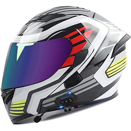 CHICTI Bluetooth Integrado Casco De Moto Modular Integral ECE Aprobado Scooter con Doble Visera Anti Vaho para Hombre Y Mujer Motocicleta para Adultos (Color : C, Size : M)