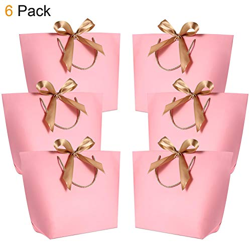 """Gift Bags with Handles - WantGor 14.17x10.24x4.33"""" Paper Party Favor Bag with Bow Ribbon for Birthday Wedding Celebration Present (Pink, Extra Large- 6 Pack)"""