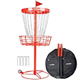 N-A JHTOPJH Disc Golf Basket Portable 24-Chain Disc Golf Target Catches Discs Baskets Practice, Wheels and Carrying Bag (Red)