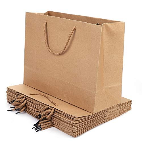 Qchomee kraftpapiertüten Papiertragetaschen 10 Stück Papiertüten mit Griff Papiertaschen Tüten Geschenktüten Tragetaschen für Geburtstag Hochzeit Weihnachtsfeier Einkaufen Babyparty Brautdusche