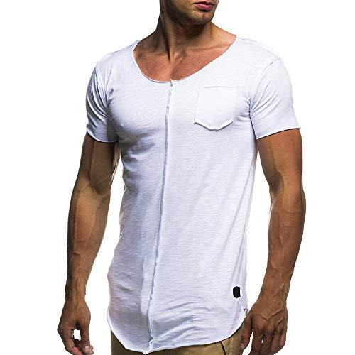 BOLANQ Männer Tops, Mode Persönlichkeit Männer Casual Slim Kurzarm Shirt Top Bluse(X-Large,Weiß)