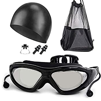 Erinotto Swim Goggles Set Anti Fog Wide View Clear UV Protection No Leaking Swimming Goggles for Adult Men Women Youth