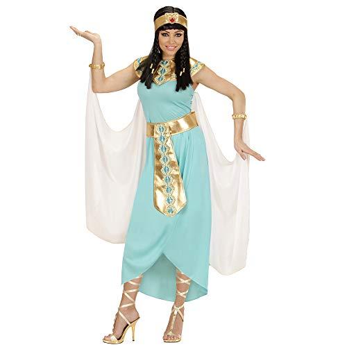 Widmann 49431 - Erwachsenenkostüm Ägyptische Königin, Kleid, Gürtel, Armbänder, Stirnband und Umhang, türkis, Größe S