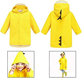 Xrten Medium Size Kids Raincoat, Cartoon Dinosaur Shaped Raincoat for Unisex, Cute & Slicker Rainwear for Children Boys Girls Yellow