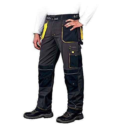 Leber&Hollman Arbeitshose für Herren - Sicherheitshose für Männer - mit Taschen für Kniepolster - Bundhose - Berufsbekleidung - Schwarz/Gelb - Größe 48