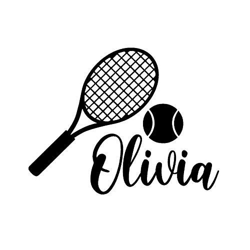 JXMN Nombre Personalizado Raqueta de Tenis y Pelota Etiqueta de la Pared calcomanías Tenis Deportes Pegatinas hogar Dormitorio Arte de la Pared decoración 79x60 cm