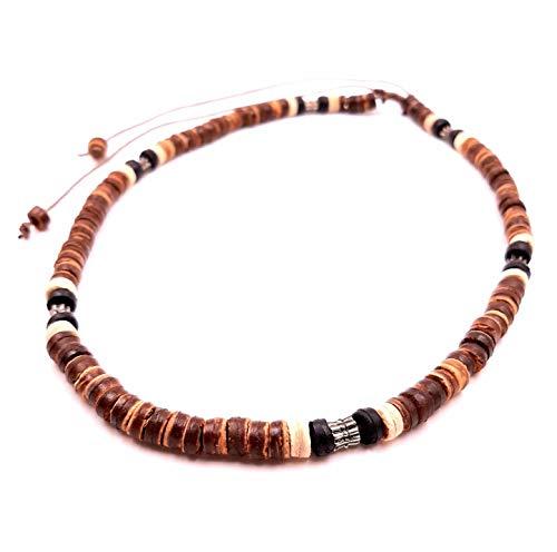 Collar surfero de coco, étnico, de madera, perlas, tribal, colgante para hombre, mujer, niño, negro y marrón