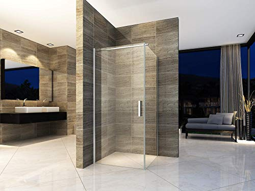 Duschkabine 80x80 cm Eckdusche Duschabtrennung Dusche Pendeltür Duschtür Schwingtür Duschwand ESG Sicherheitsglas NANO-Beschichtung