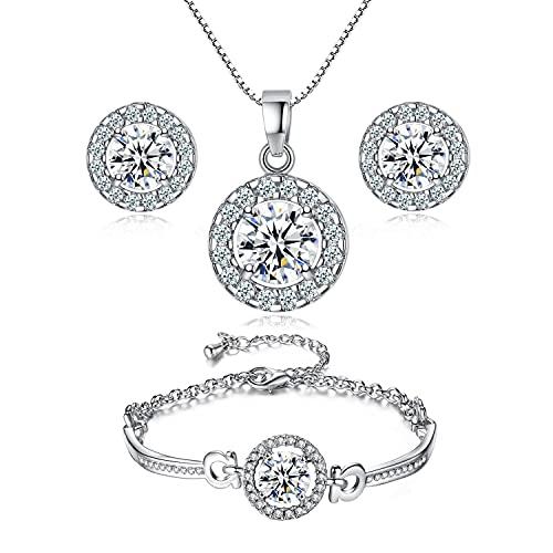 SIMIN Conjunto de joyas para mujer, Conjunto de Collar Pendientes y Pulsera con Circonitas incluye bolsa de joyería, regalo para mujer y niña