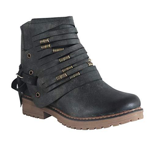 Luckycat Roma Botas Altas para Mujer de Invierno Botas de Invierno, Botines de Cuero Otoño Vintage Zapatos de Mujer Botas cómodas de tacón Plano Bota Corta