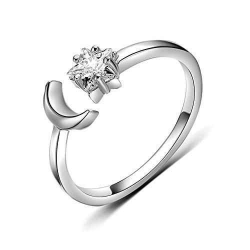 Cestbon Modisch Sonne Mond 925 Sterling Silber Zirkonia Offener Ring Verlobungsring Partnerring Verstellbar Größe 51 Bis 56,Silber