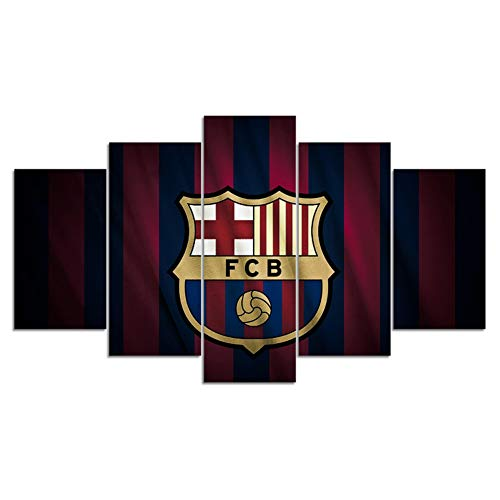 wzgsffs Creative 5 Pieces FC Barcelona Flag Sports Wall Posters Football Canvas...