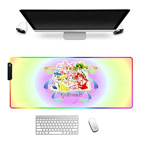 Alfombrilla de ratón para Juegos Anime Sailor Moon con Borde Cosido y Base de Superficie con Textura Especial Resistente al Desgaste para computadora portátil y PC 900x400x4mm D