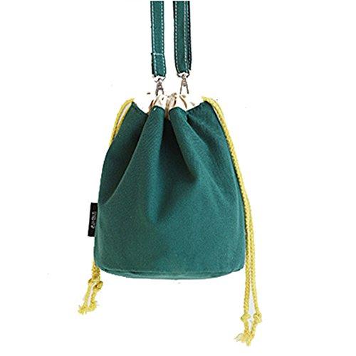 HM&DX Frauen leinwand eimer umhängetaschen umhängetasche handtasche, Verstellbarer riemen, Kordelzug für die schule einkaufen dating reise-strand-ausflug -dunkelgrün