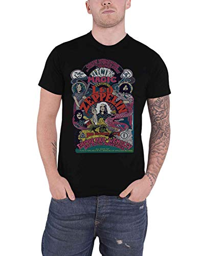 Led Zeppelin Herren Ledzeppelin_Full Colour Electric Magic_Men_bl_ts: M T-Shirt, Schwarz (Black Black), Medium