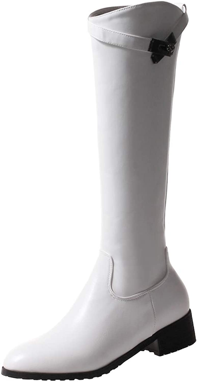 Kikiva Womens Mid Block Heel Side Zip Mid Claf Boots with Buckle