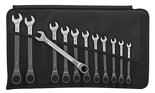 STAHLWILLE 17F/12 - Juego de llaves combinadas con carraca (12 piezas, lado plano, extremadamente resistente, no daña los tornillos, en estuche enrollable robusto)