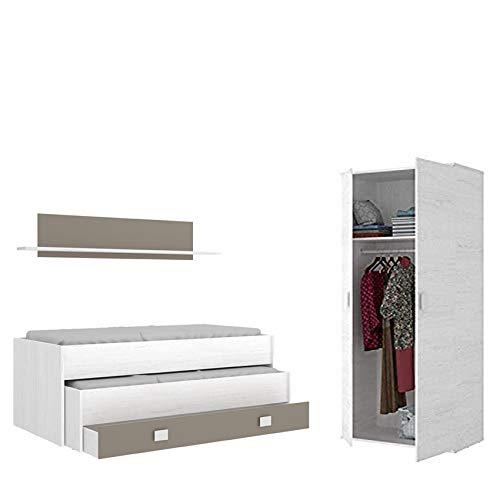 HABITMOBEL Conjunto Dormitorio Juvenil, Cama Nido 2 cajones + Armario 2 Puertas 90 cm,Blanco Artico