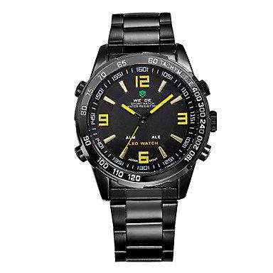 Schöne Uhren, Weide® Männer Casual Uhrenmarke Edelstahlband führte doppelte Zeit Quarzarmbanduhr ( Farbe : Silver/Black , Großauswahl : Einheitsgröße )