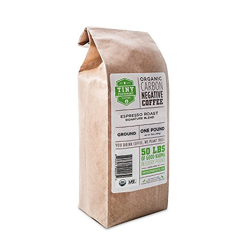 Tiny Footprint Coffee - Espresso Roast Signature Blend | Carbon Negative | USDA Organic | 16 oz. Ground Coffee