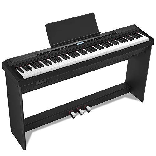 Donner DEP-20 Beginner Digital Piano 88 Key Full Size Weighted Keyboard, Portable Electric Piano with Furniture Stand and 3-Pedal Unit