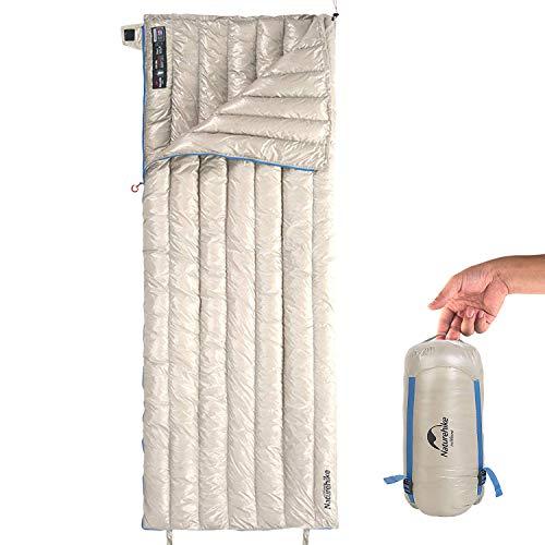 Naturehike ダウン 寝袋 シュラフ スリーピングバッグ 封筒型 570g 超軽量 羽毛 撥水加工 2人用に連結可能 キャンプ 登山 防災 メッシュ収納袋付 超便利【一年保証】