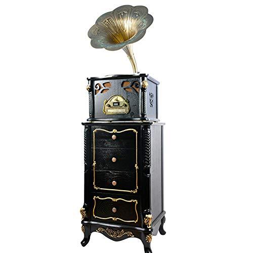 BDHBB Gramophone Retro, Turntable phonographes, Corne Gramophone, Style Antique, Lecteur Vinyle Old Fashioned, 3 Vitesses (33/45/78 RPM), pour Home Décor du Foyer,Noir