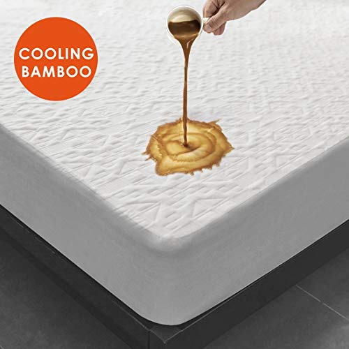 Hanleecome Premium Waterproof Mattress Protector King Size Cooling Bamboo Mattress Pad Cover, 3D Air Fabric Ultra Soft Breathable Noiseless(King)