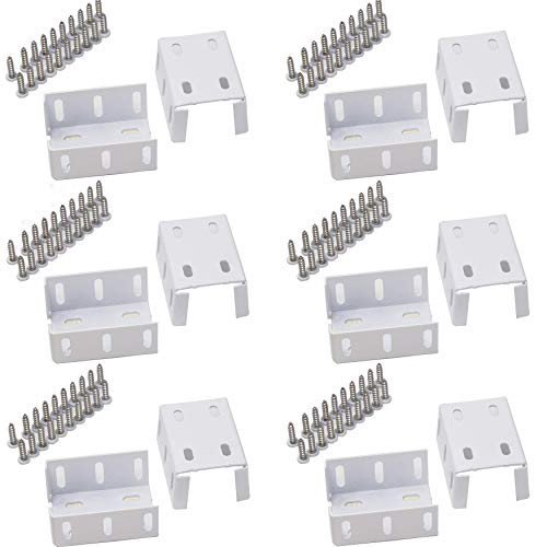 Heavy Duty 2-3/4' x 2' Rail Bracket Kit (6 Pairs, 12 PCS), Rust-Proof White Aluminum Metal, Great for Your Fences, Decks, Porches and Verandas, Ideal and Sturdy Replacement for Frail Plastic Brackets