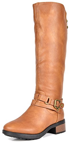 DREAM PAIRS Women's Uncle Camel Knee High Motorcycle Riding Winter Boots Size 9 M US