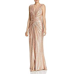 Champagne Petites Sleeveless Sequined Evening Dress