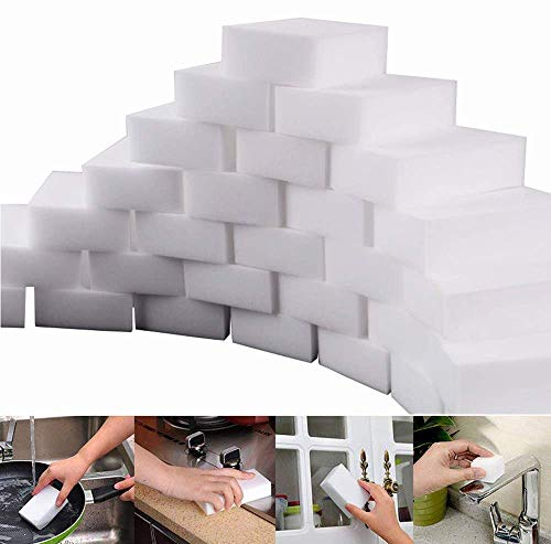A+Selected Pack of 50 Magic Eraser Sponges for Stain Mark Removal No Need for Chemicals - Household Cleaning Blocks Melamine Sponge Wall Wipes Kitchen Cleaner (White)