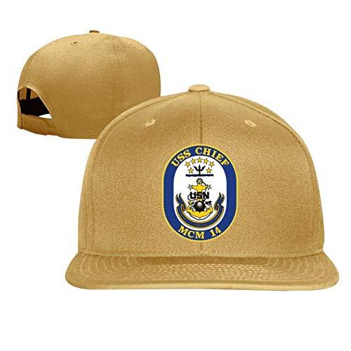 SuyuttiER USS Chief MCM-14 Baseball Cap Adjustable Trucker Hat Dad Hat Yellow