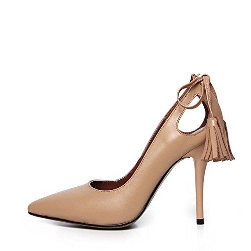 WSS Zapatos de tacón Zapatos de tacón de Aguja de Las Mujeres de Cuero señaló borlas Flashes Las señoras Elegantes Zapatos Apricot 34 ✅