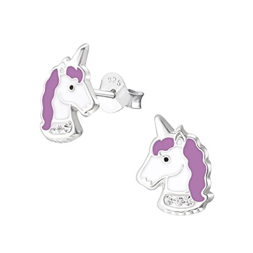laimons niña niños de pendientes Niños joyas Unicornio Lila, Color blanco brillante plata de ley 925