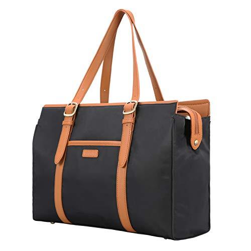 ECOSUSI Large Tote Bag Shoulder Bag Messenger Bag Handbags Briefcase for Women Ladies Girls Laptop Bag 15.6 Inch Laptop Sleeve Nylon Work Bag with 3 Divided Compartments